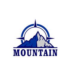 mountain logo compass icon vector image