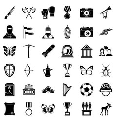 museum icons set simple style vector image