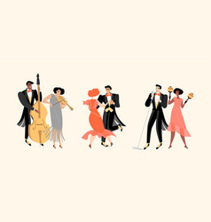 Musicians and people dancing in vintage costumes vector