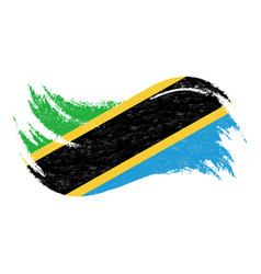 National flag of tanzania designed using brush vector