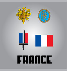 Official government elements of france vector