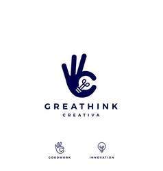 ok hand gesture bulb idea logo icon vector image