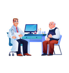 Old woman and practitioner sit at doctors table vector