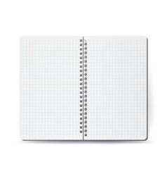 Opened notebook with coil spiral spiral vector