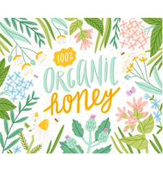 organic honey packaging vector image