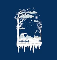 paper cut snow landscape vector image