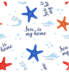 Pattern with sea stars vector