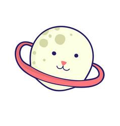 Planet - cat head japanese style kawaii vector