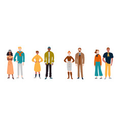portrait multiracial diverse people couples vector image