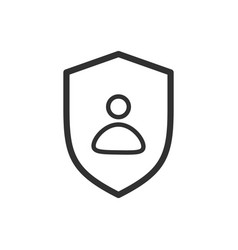 Privacy icon flat shield with person silhouette vector