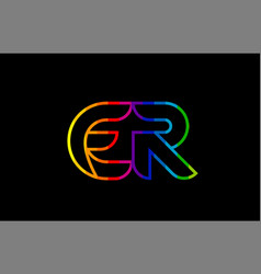 rainbow color colored colorful alphabet letter er vector image