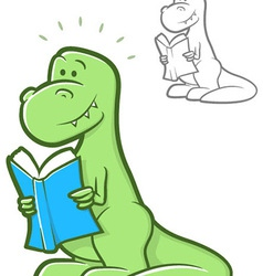 Reading Dinosaur vector image
