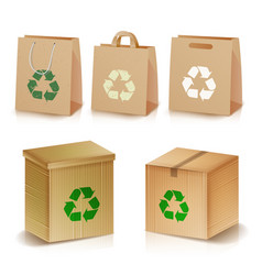 recycling paper bags and boxes realistic blank vector image