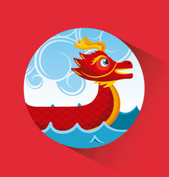 red chinese dragon boat sea and clouds button vector image