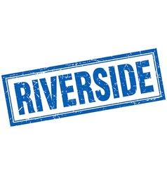 Riverside blue square grunge stamp on white vector