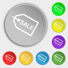 Sale icon sign Symbol on eight flat buttons vector image