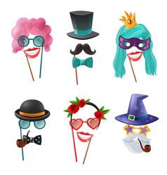Set carnival accessories vector