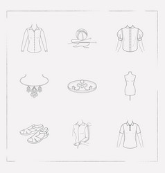 set of garment icons line style symbols with vector image