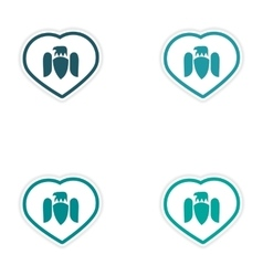 Set of stickers Eagle in the heart on white vector