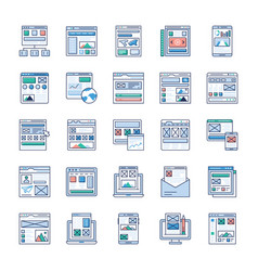site flow wire frame flat icons set vector image