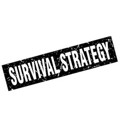 Square grunge black survival strategy stamp vector