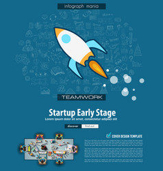 Startup landing page template with hand drawn vector