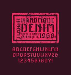 Stencil-plate sans serif font in style of vector