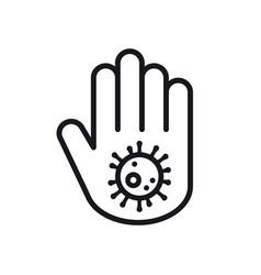 Stop coronavirus concept hand with dangerous cell vector