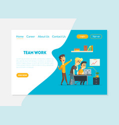 team work banner landing page template people vector image