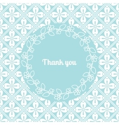 Thank you card template with floral frame vector image