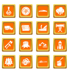 Timber industry icons set orange square vector