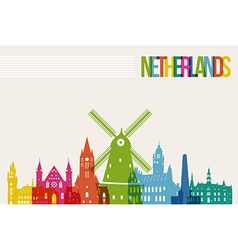 Travel Netherlands destination landmarks skyline vector image