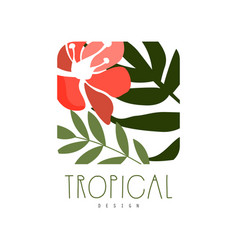 Tropical logo design square badge with green vector