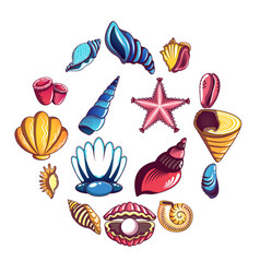 Tropical sea shell icons set cartoon style vector
