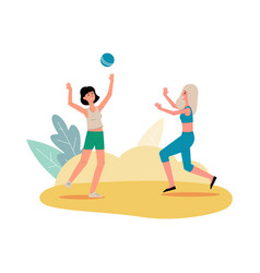 two cartoon women playing volleyball isolated on vector image