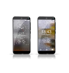 two smartphones showing weather screensaver well vector image