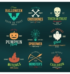 Vintage Typography Halloween Color Badges or Logos vector image