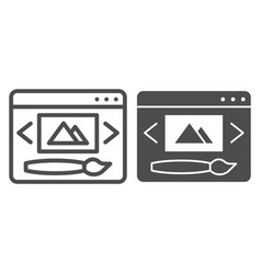 Web design line and glyph icon digital image and vector