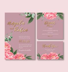 Wedding invitation design with foliage romantic vector