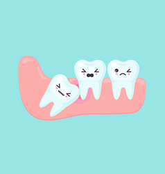 Wisdom tooth problems dental stomatology vector
