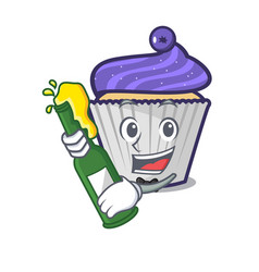 With beer blueberry cupcake mascot cartoon vector