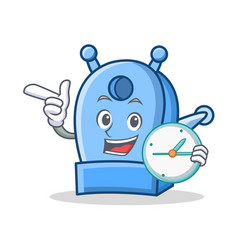 With clock pencil sharpener character cartoon vector