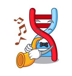 With trumpet dna molecule mascot cartoon vector