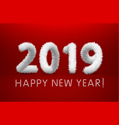 wooly white hairy shaggy wool 2019 happy new year vector image