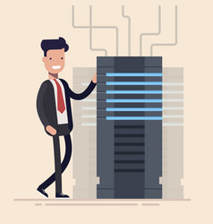 Young specialist stands next to server rack vector