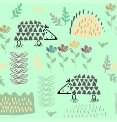 forest seamless pattern background with plants and vector image