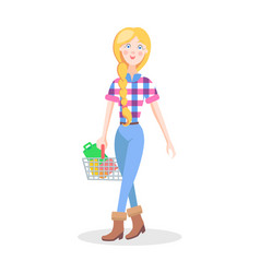 girl with shopping basket flat cartoon vector image vector image
