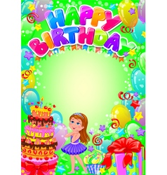 Happy birthday card with place for text vector image vector image