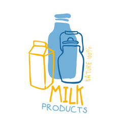 milk products logo symbol colorful hand drawn vector image vector image