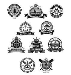 nautical and marine isolated heraldic badge set vector image vector image